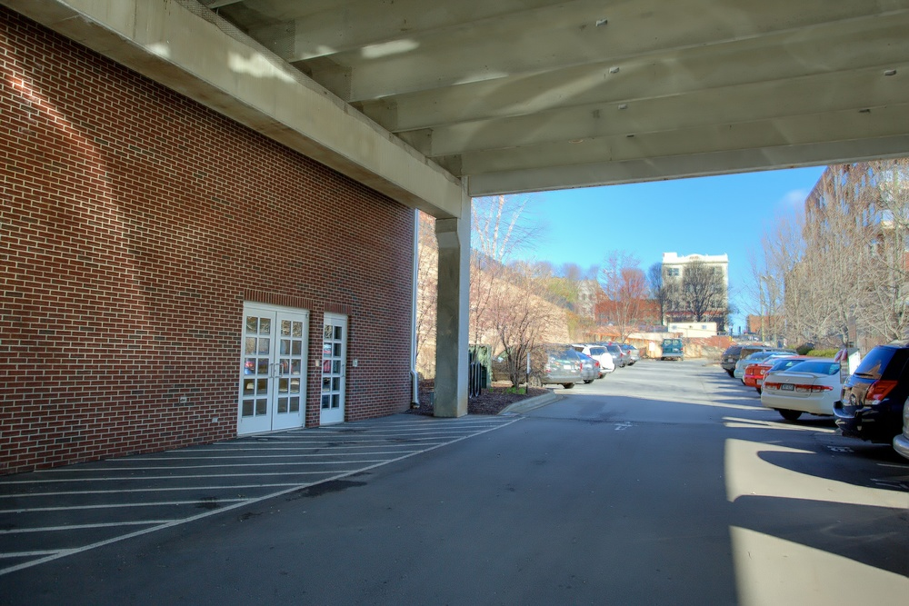 Lower Parking Lot Entrance (Elevator & Stairs)