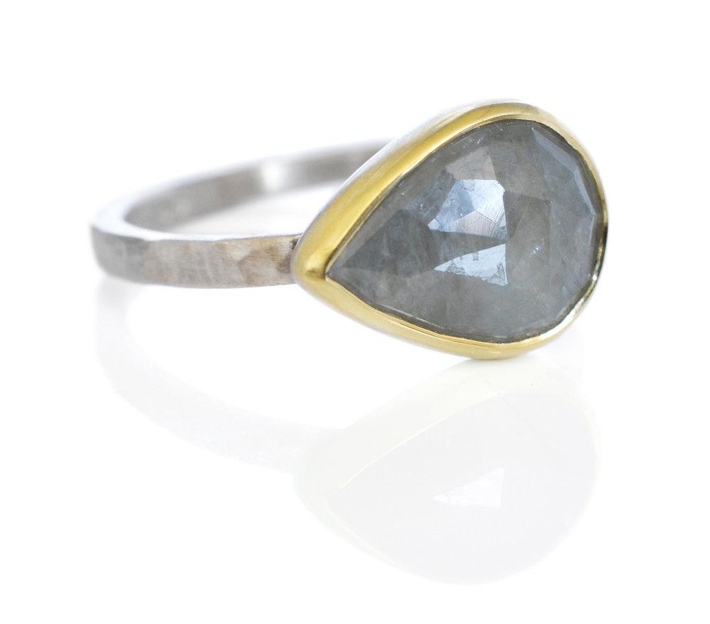 Jake-Laura-custom-alternative-engagement-ring-rosecut-pear-sapphire-18ky-500palladium
