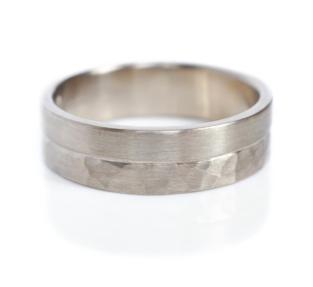 Mixed texture men's wedding band in satin and hammered 14k gray gold.  Modern and minimal and perfect for Marc.