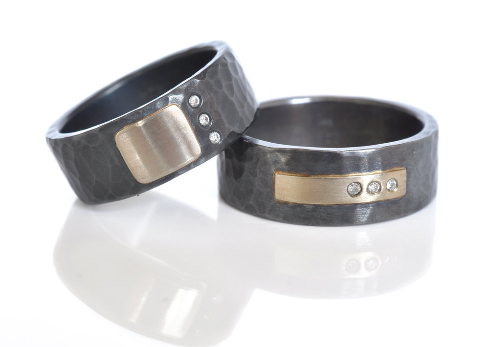 Kevin-Paul-custom-cellBand-RivetRing-WeddingSet-oxidizedSterlingSilver-14kGrayGold-whiteFlushsetDiamonds