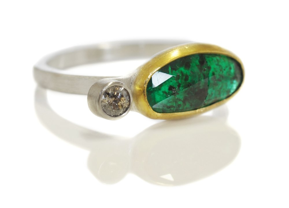 louisa-custom-double-gem-ring-rosecut-emerald-gray-diamond-18ky-bezel-14kw-silver-band-side.jpg