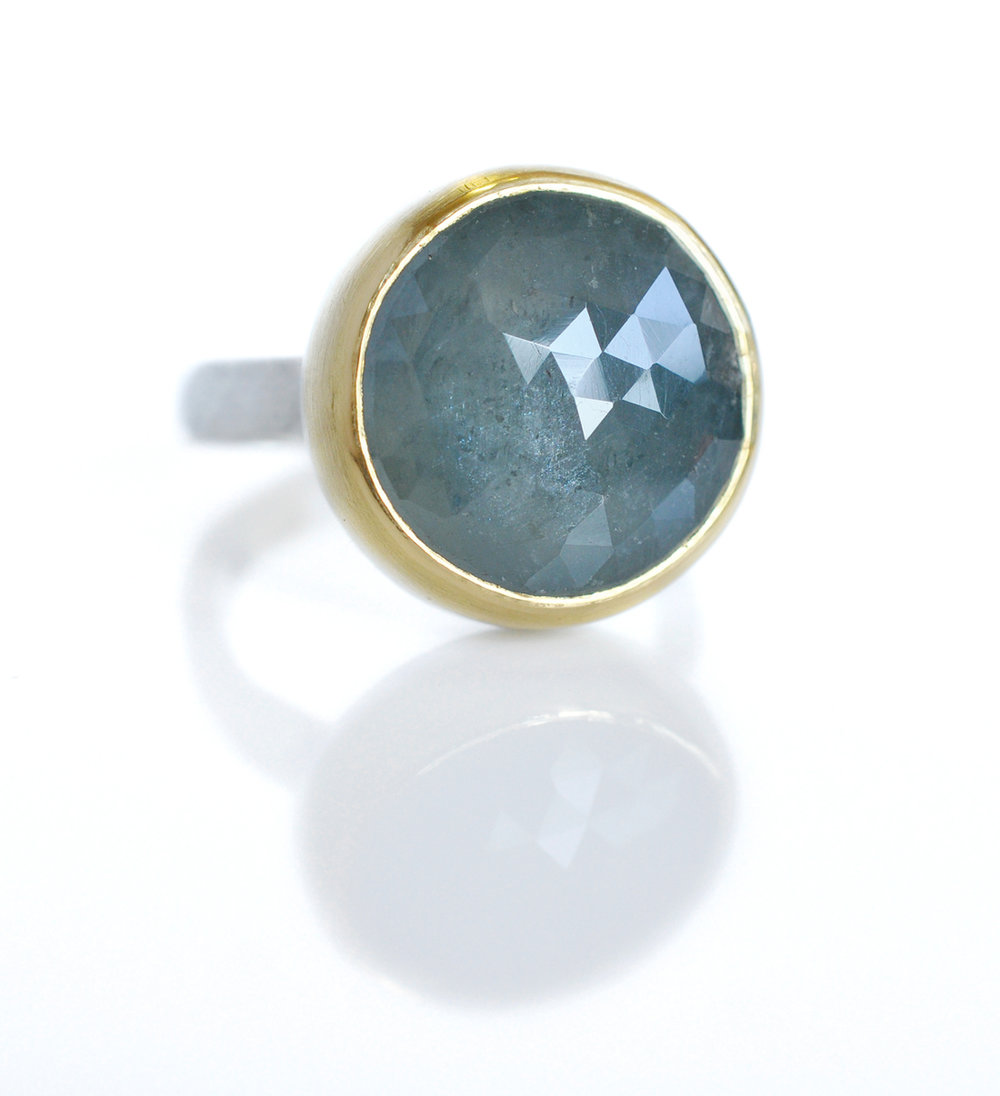 KellyV-seafoam-green-cocktail-ring-rosecut-sapphire-18ky-bezel-hammered-silver-band-side2.jpg