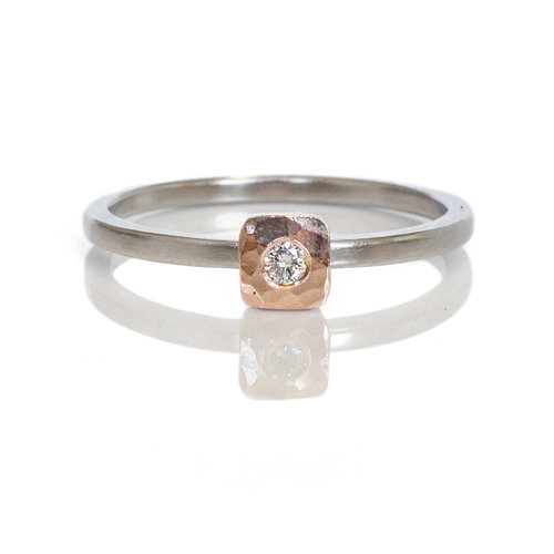 e0bf15eceee 14k red rose pink gold flush set white diamond cell ring 500 palladium  mixed metal alternative