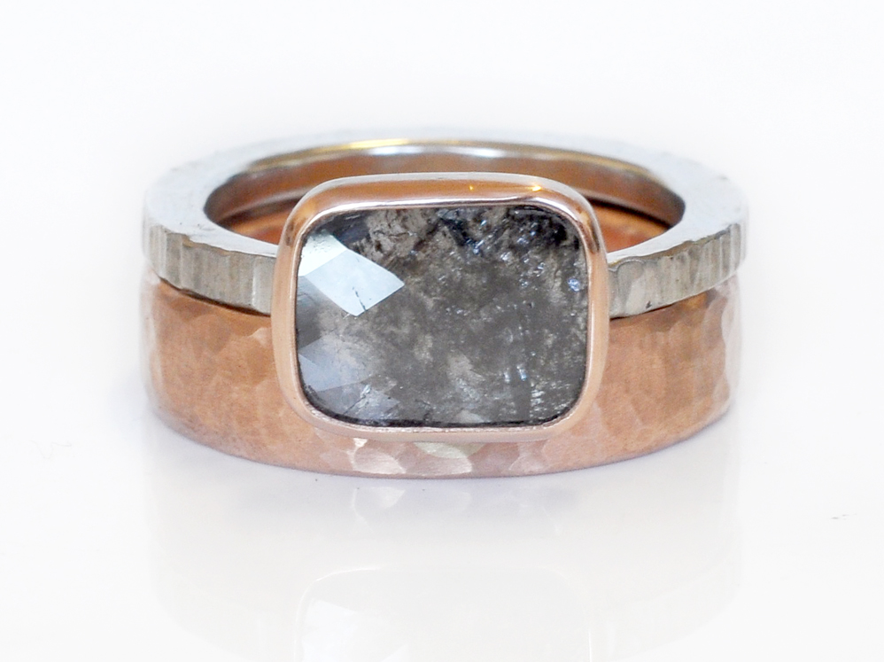 A gorgeous salt and pepper diamond slice tops off this set of chunky statement rings, perfect for a rough and tumble cowgirl like Frieda. Recycled 14k red gold with a hammered finish and linear hammered palladium.