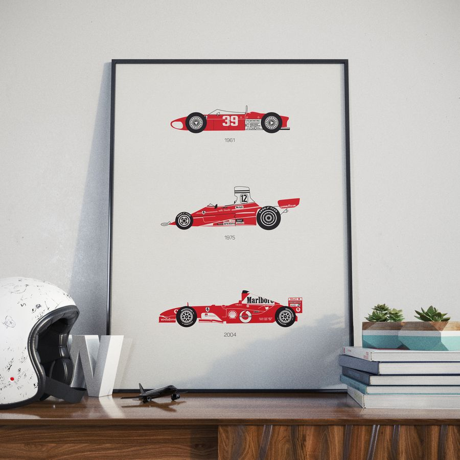 Ferrari Print White Helmet Lifestyle 1 - Rear View Prints.jpg