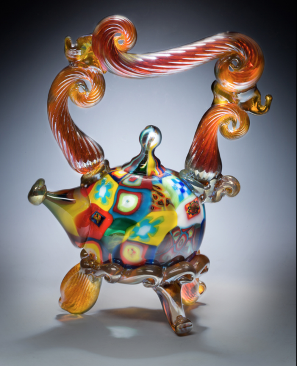 Paul Counts - Hand blown glass with multi-layers of colors, cane and murrini