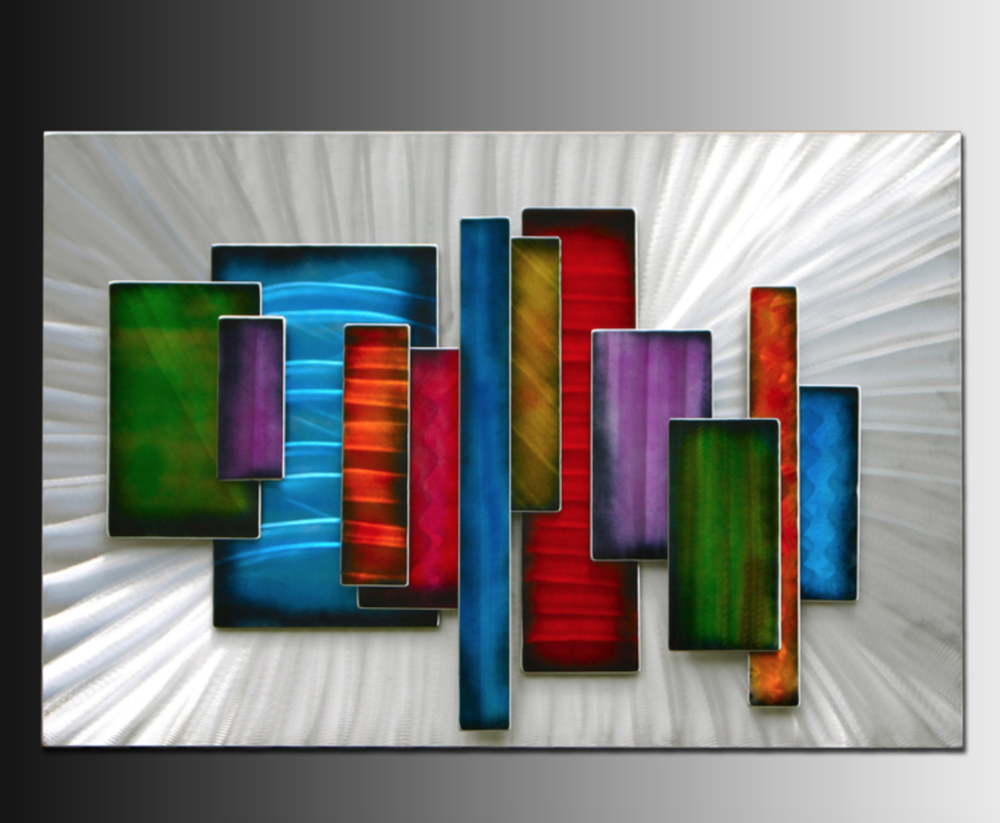 Tim Herbst - http://www.herbst-metal-wall-art.comI use aluminum, stainless steel, and copper plus dyes and heat to produce unique wall sculptures. Texture and color are combined to create pieces that change dramatically with light.
