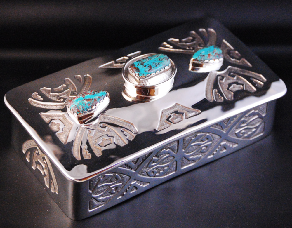 Ed Kolle - Hand forged, acid etched and silver soldered nickel silver boxes.