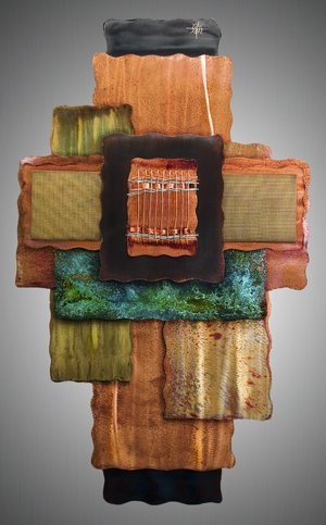 Sheri Meldrum - http://www.sherimeldrum.comMulti dimensional copper wall pieces, hand forged wall sculpture and hand woven copper wall hangings with my unique combo of chemical patinas and enamels, heat and oils. Finished with clear coat.