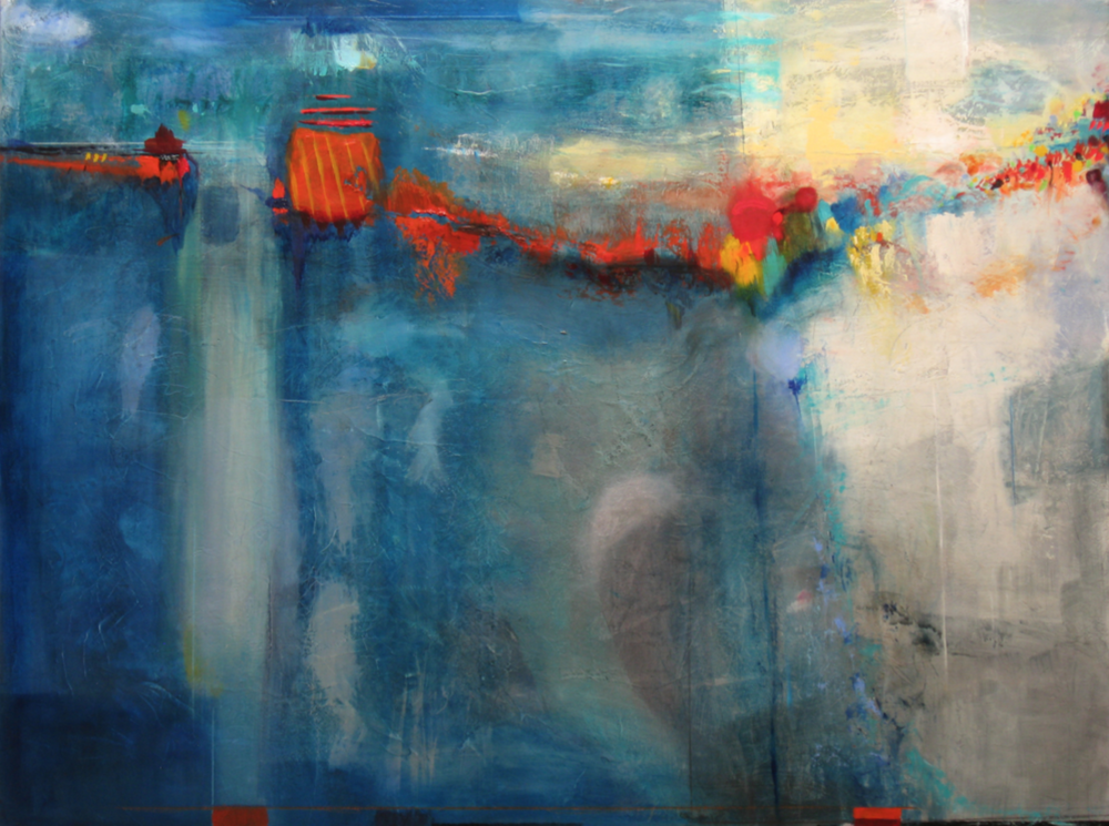 Michael Colpitts - http://michaelcolpittspaintings.comI use a combination of acrylic, oils, sand, fabrics, and handmade paper on panel and canvas.