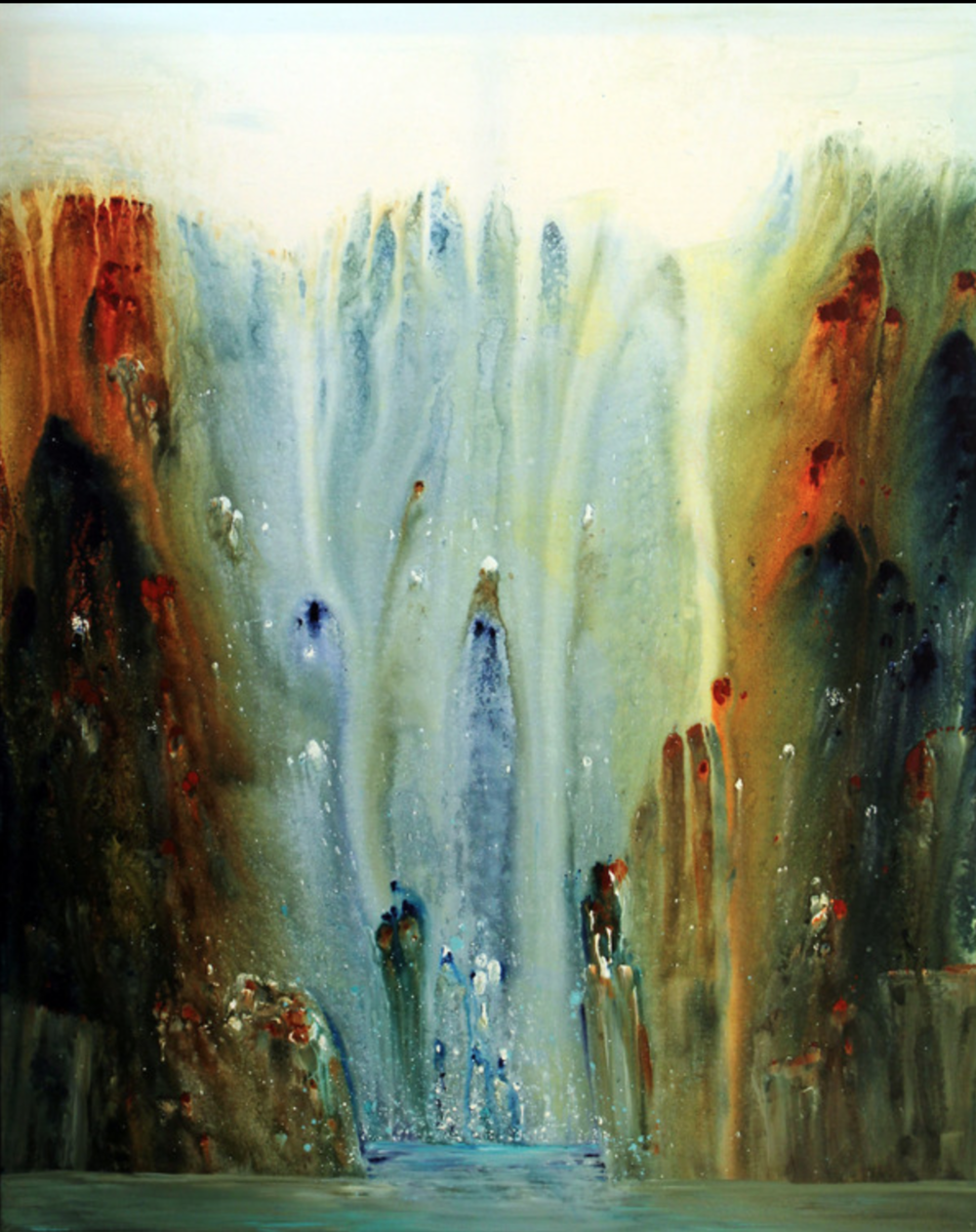 Jane Johnson - http://janejohnsonart.comFluid acrylic on canvas or yupo paper, a synthetic substrate using brushes water and prayers to move the paint
