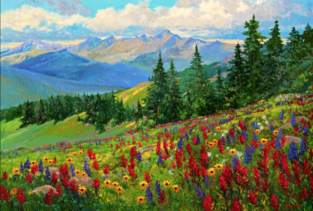 Kevin & Wendy Schaefer-Miles - http://schaefer-milesfineart.comImpressionistic Mountain Monet Style Original Oil Landscape Painting on stretched canvas.
