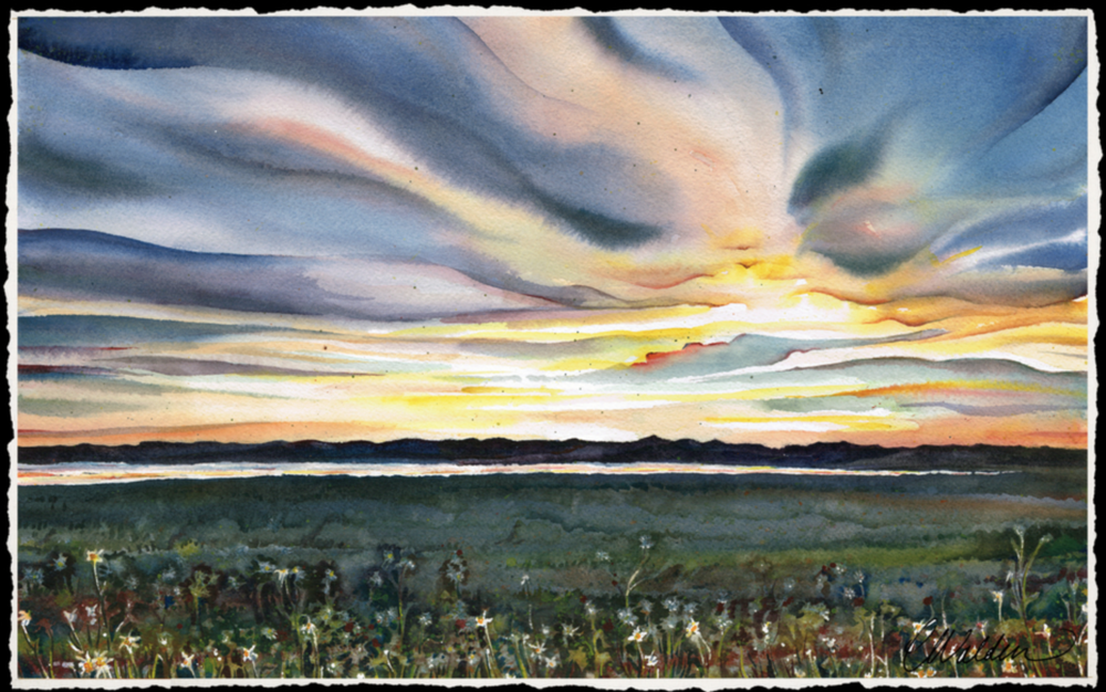 Carmel Walden - http://www.waldenwatercolors.comPaintings created through blending three transparent watercolor hues. Controlled and detailed elements are complimented by bold strokes of light; unusual textures created with splatter and salt.