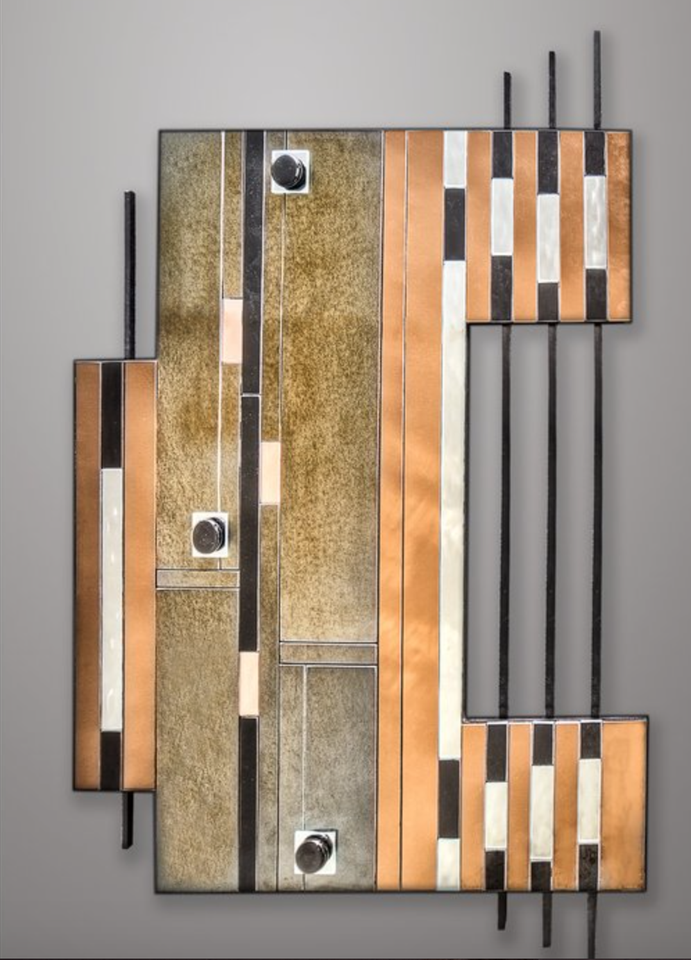 Ralph Parker - http://RalphMParker.comMaterials include,solid steel bar,wood,colored mirror,iridescent glass,stained glass