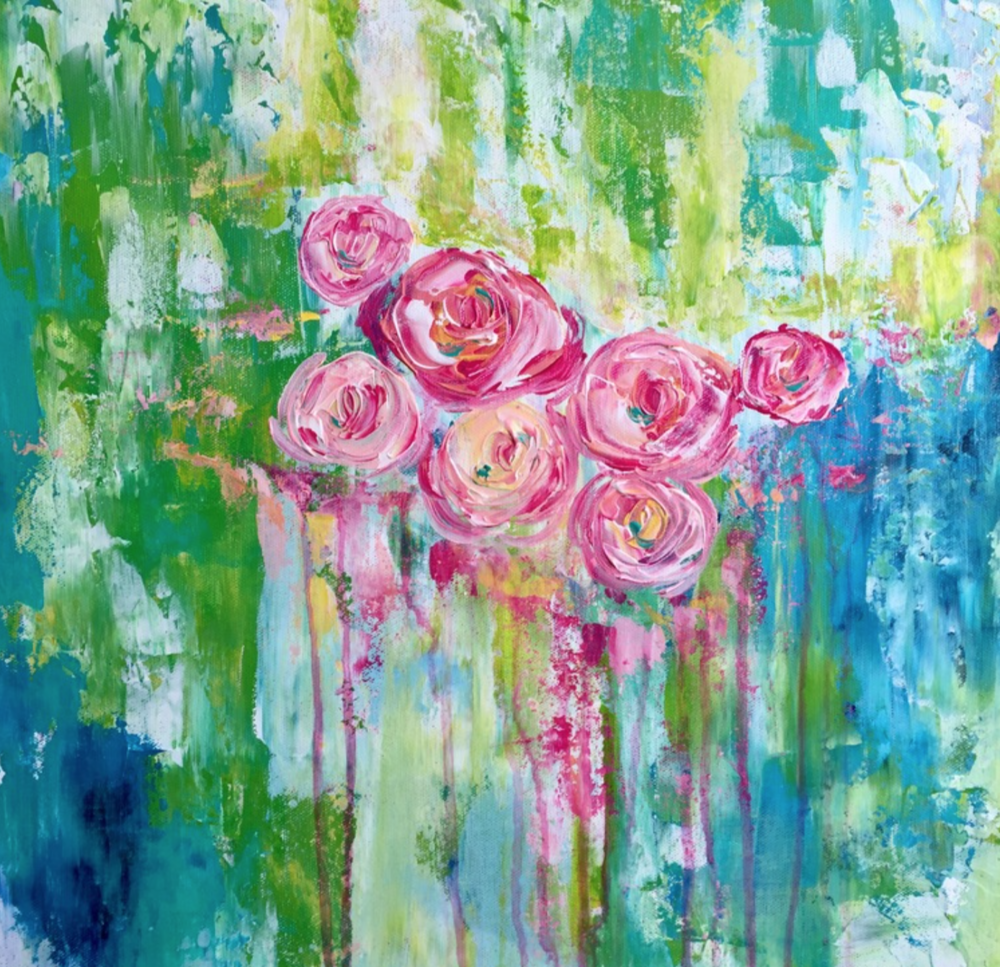 Julie Janney  - http://www.julesartdesigns.comColor carries the emotion in my art, and use of a palette knife allows me to mix the colors on the canvas, drip and splatter the canvas.. pull and push the acrylic around.