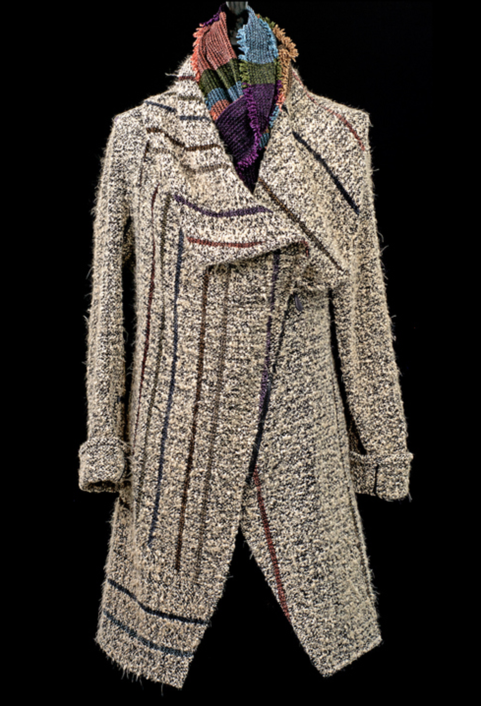 Barbara Holloway - http://www.barbaraholloway.comI hand weave my fabrics on 8-harness foot-powered floor looms with micro and plant fiber yarns. I warp the looms, weave the fabrics, wash, dry, steam press, cut, sew and hand-embellish each piece.