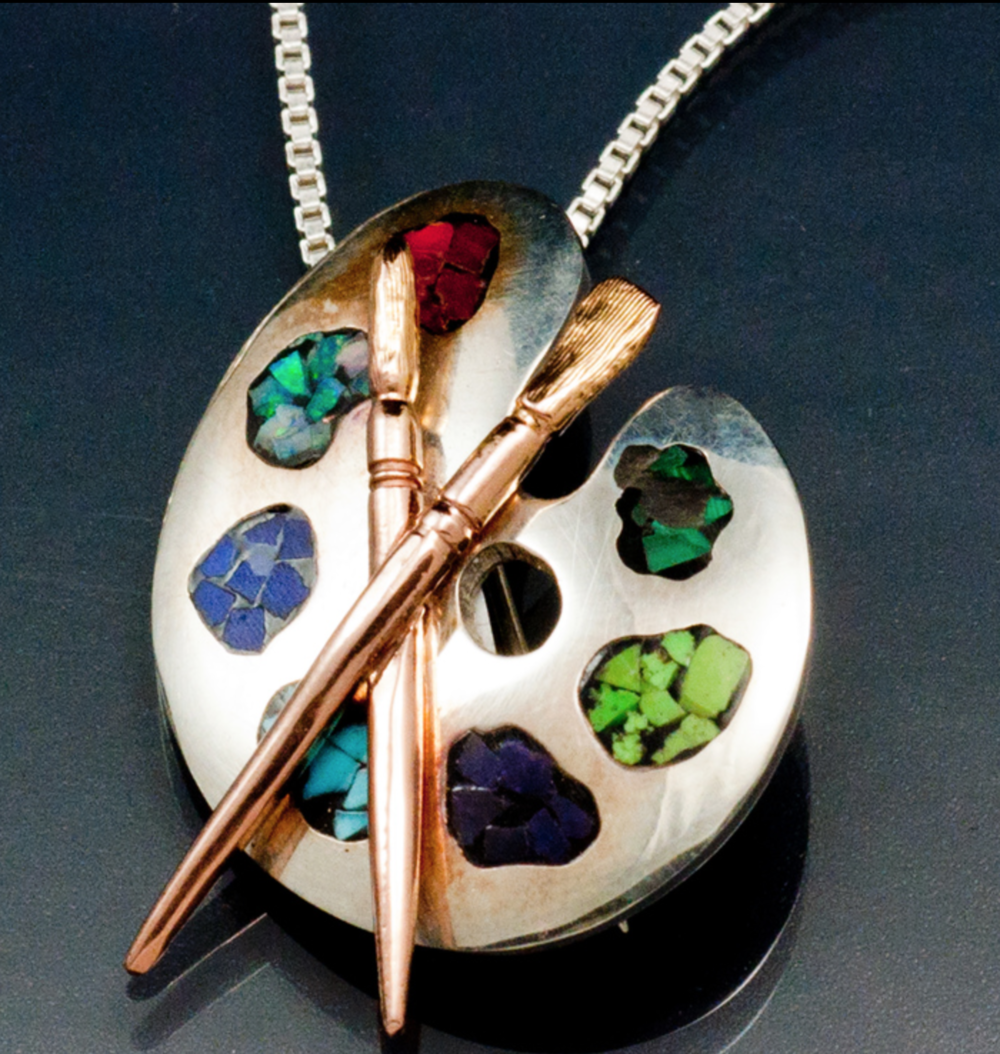 James Hardwick - http://www.jameshardwickjewelers.comI make each piece by fabricating in wire & sheet metal or making a wax model & casting. All color is rock or stone in one form or another, metal is gold or silver,I have started doing hand engraving.