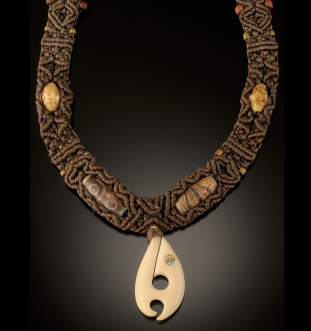 Josh Hirt - I hand-weave and intricately knot 4-124 strands of uniquely soft and durable fibers into my originally designed jewelry. Adorned, are handmade beads and pieces I have collected in my world travels.