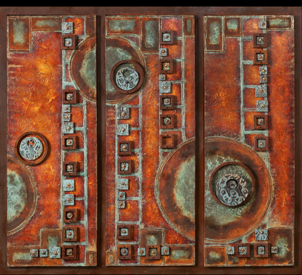 Joe and Mari Axton-Giddings - http://WillowArtGroup.comWe work in a unique blend of metals, ceramics, fired glass, and paint, using traditional techniques, unconventionally combined. We often start with a collage or drawing, then build by inspiration.