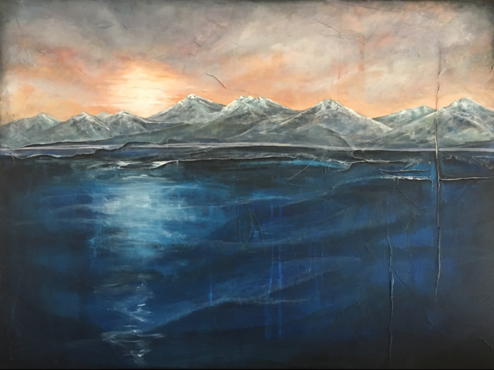 Kelley Sullivan - http://www.kelleyjsullivan.comThick layered acrylics and moulding paste create depth and texture. I use water as a vehicle for the next layers by soaking the canvas. Final layers consist of charcoal, oil pen, and mixed media.