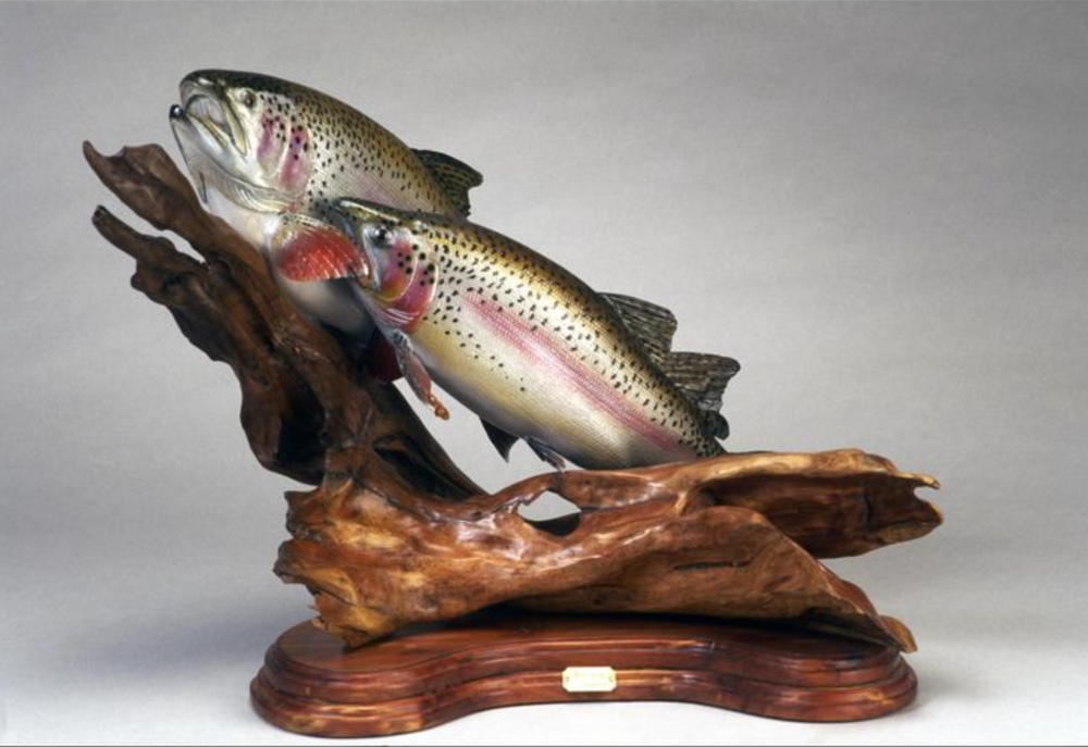 Bruce Taylor - http://www.taylorsfish.comWildlife wood sculptures hand and power carved details are burned in then painted by hand and airbrush bases are hand carved wood rocks then painted