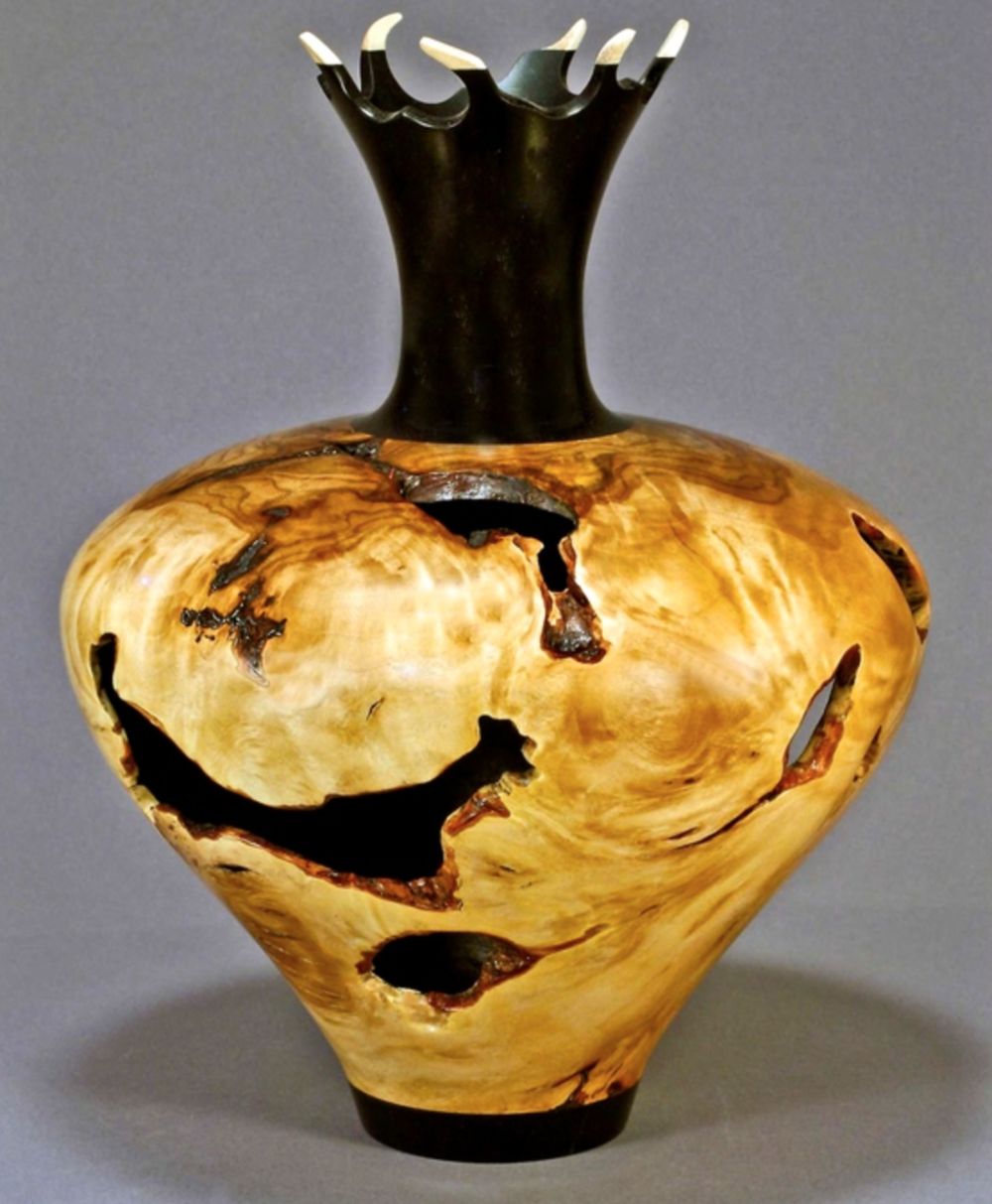 David Rec - Lathe turned bowls, vases, lamps and Platters. Crushed stone and copper inlays.