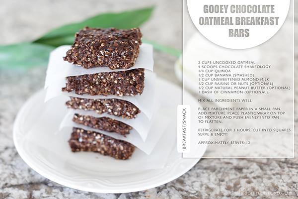 GOOEY CHOCOLATE OATMEAL BREAKFAST OR SNACK BARS