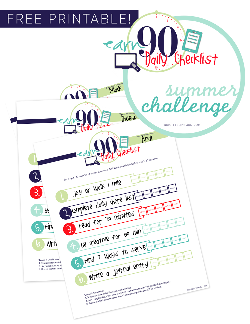 A SUMMER CHALLENGE FOR CHILDREN TO EARN 90 MINUTES OF DAILY SCREEN TIME. FREE PRINTABLE!