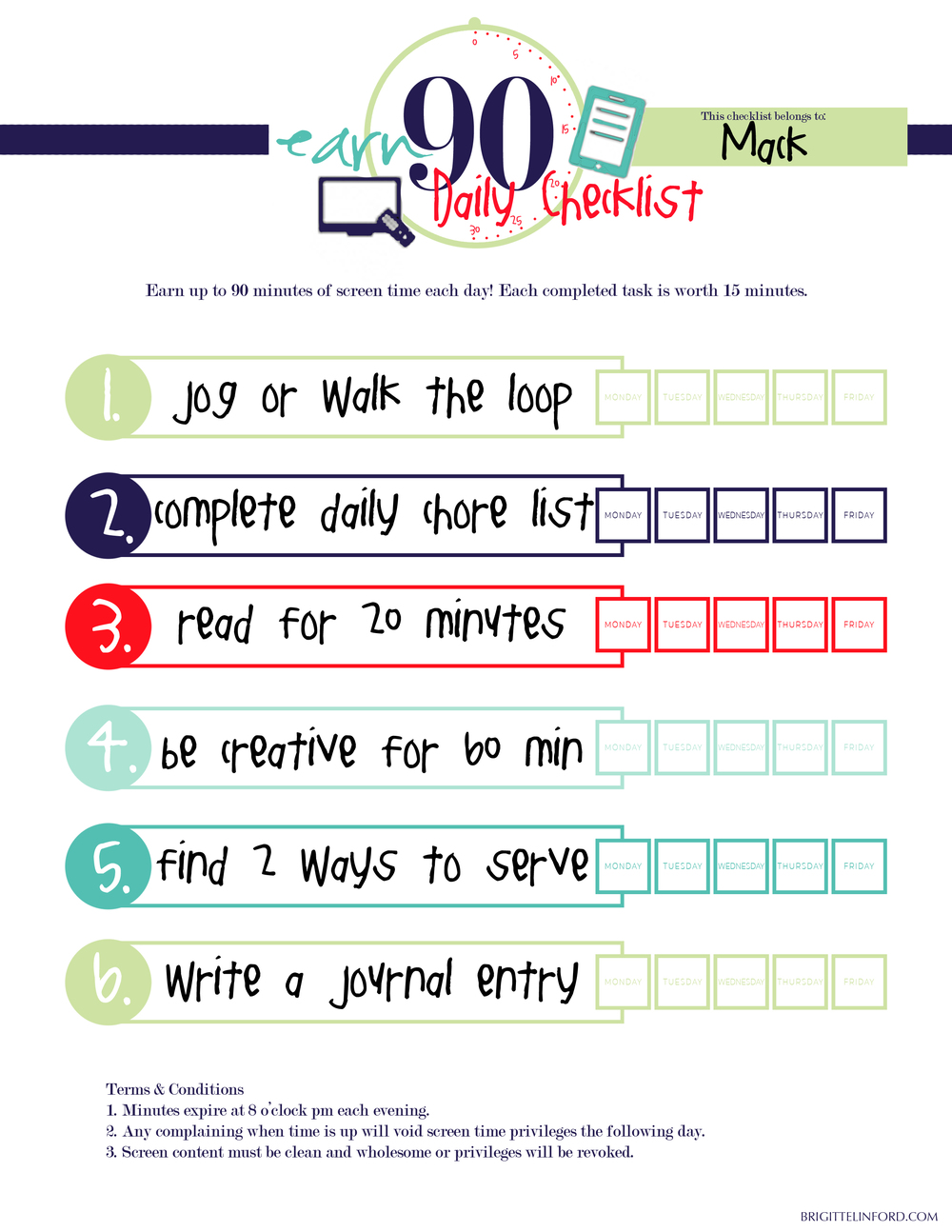 FREE PRINTABLE! TEACH YOUR CHILDREN TO EARN THEIR SCREEN TIME THIS SUMMER!
