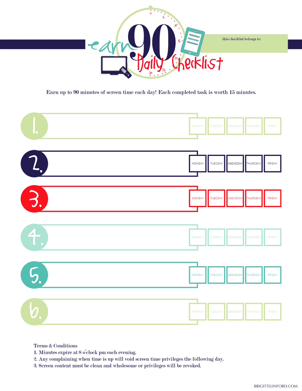 FREE PRINTABLE! A CHECKLIST FOR YOUR CHILDREN TO EARN SCREEN TIME THIS SUMMER!