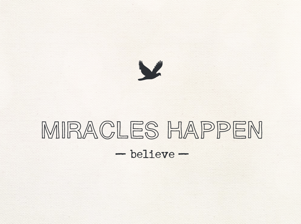 NEVER GIVE UP MIRACLES HAPPEN EVERY DAY