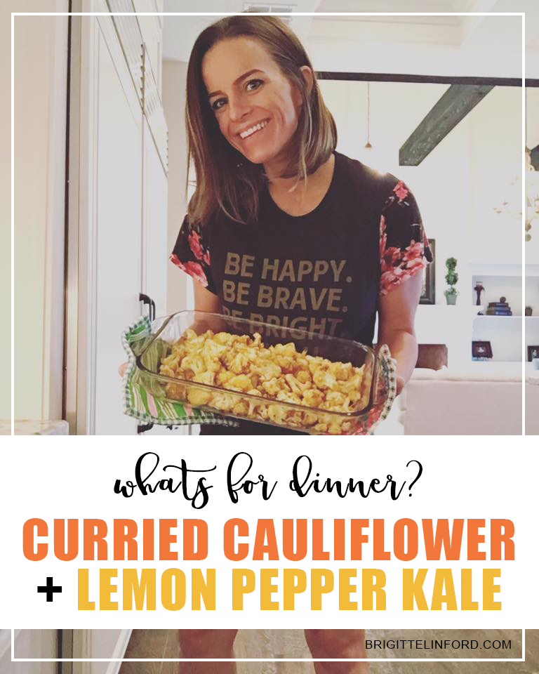 DINNER RECIPE CURRIED CAULIFLOWER AND LEMON PEPPER KALE