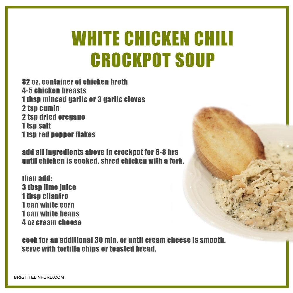 Best white chicken chili crockpot soup!