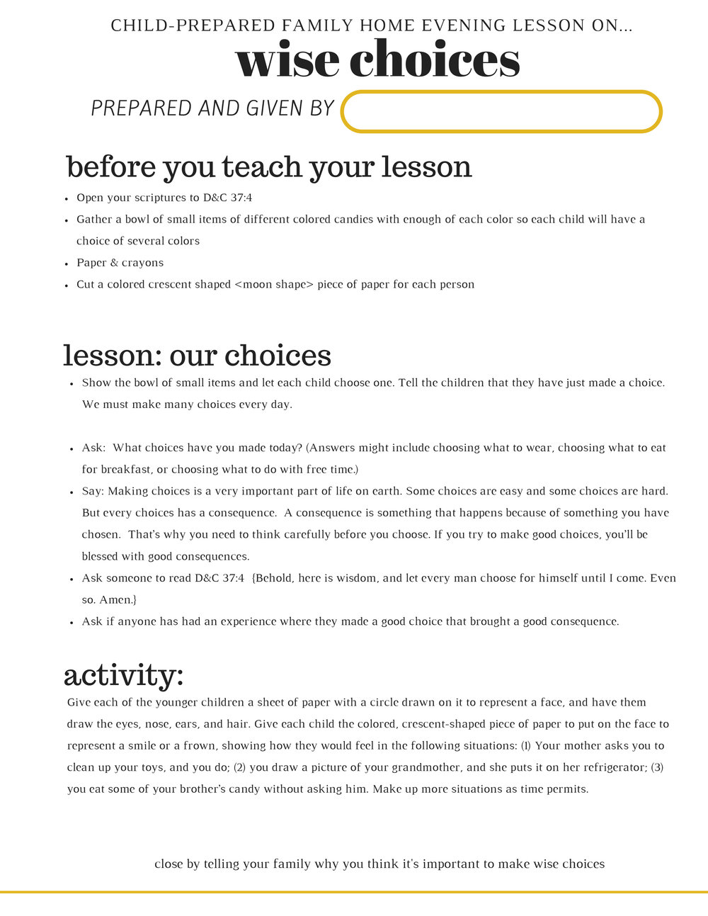 FREE PRINTABLE FHE LESSON ON MAKING WISE CHOICES
