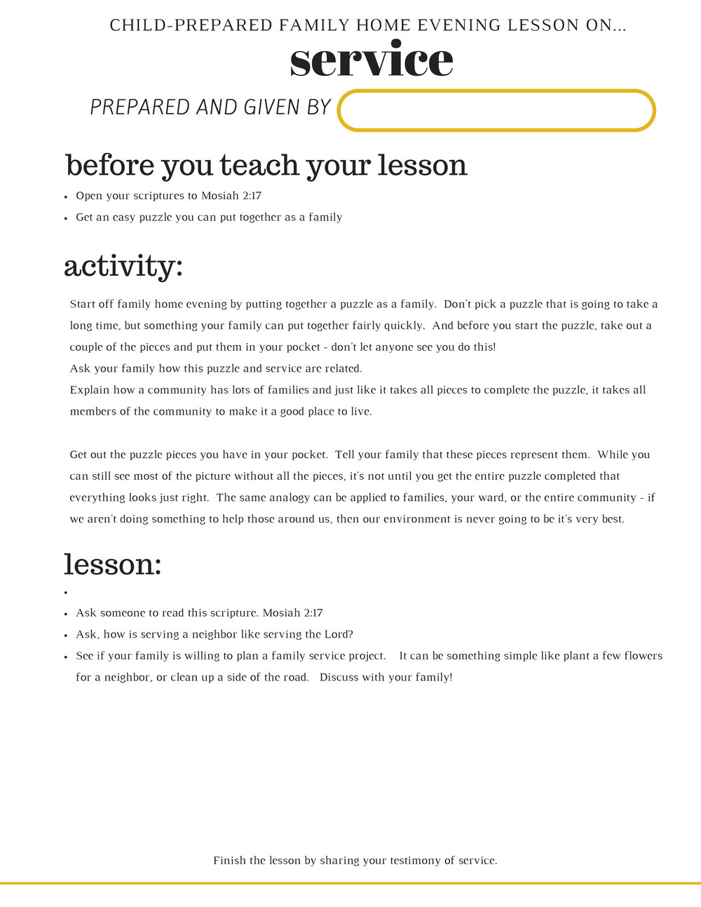 FREE PRINTABLE FHE LESSON ON FOLLOWING CHIRST'S EXAMPLE IN SERVICE