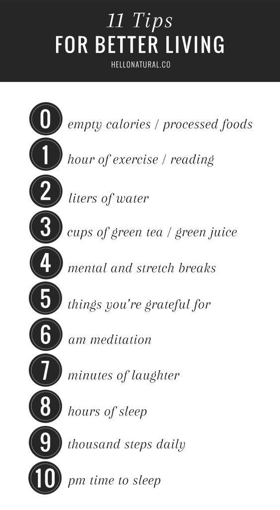 11 TIPS FOR BETTER LIVING