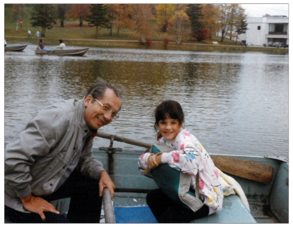 The Author/Artist and her Grandpa Jack on the lake at Kutsher's