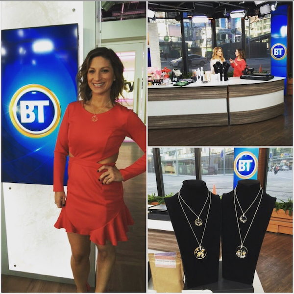 Style expert Karen Firsel models the Constellation Mélange pendant following the Breakfast Television segment.