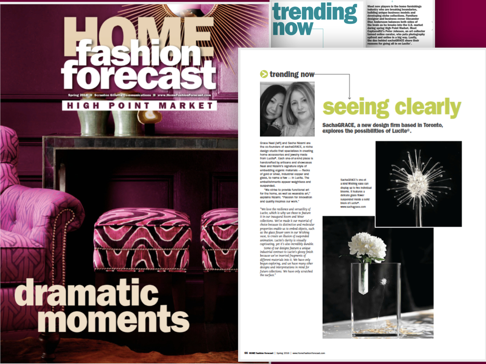 So excited to be featured in Home Fashion Forecast - thank you so much for selecting sachaGRACE!