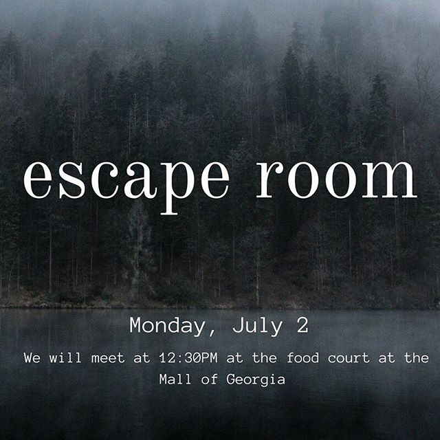 HIGH SCHOOL! Who's coming to the escape room on Monday? Bring $30 to join! We'll meet at 12:30 in the food court 👍
