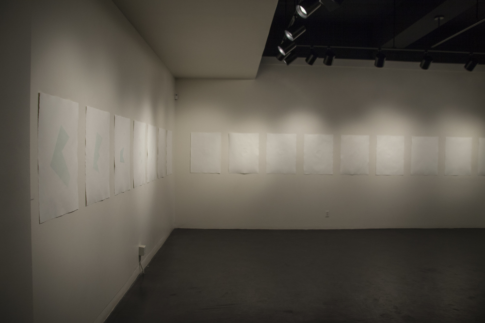 """traces (installation view), 2016, 30' x 30"""""""