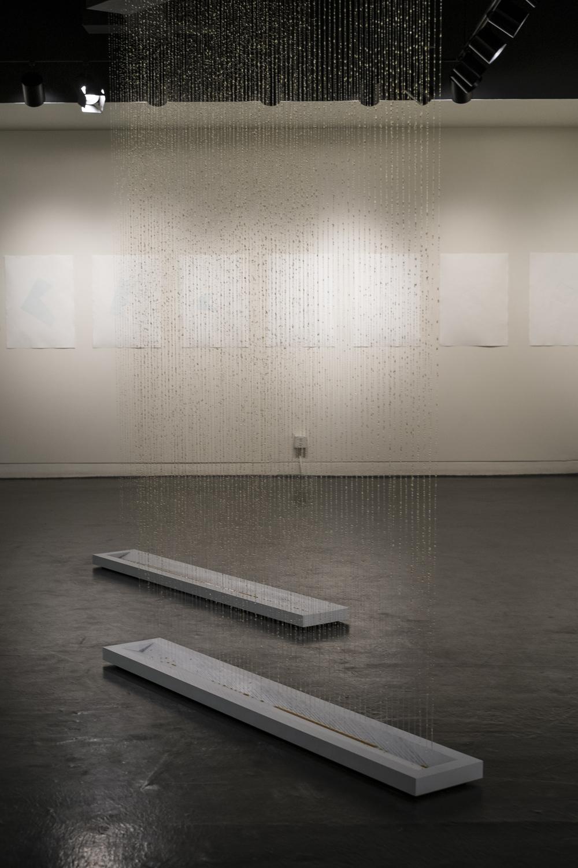 silence: time & distance , 2106, wood, acrylic line, honey, 12' x 10' x 6'