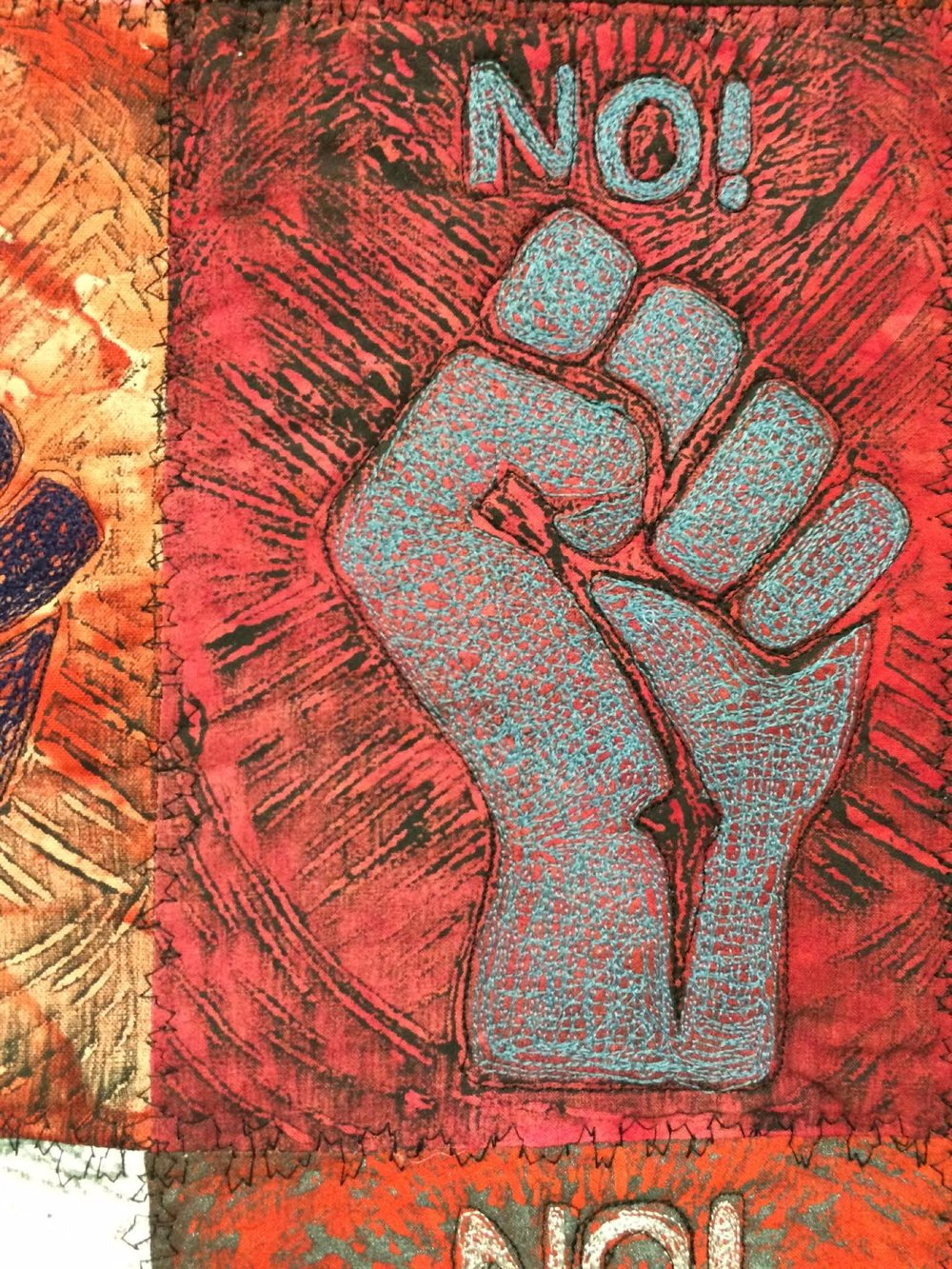 Assignment:  Mixed Media Printmaking (  detail)   Media: relief prints on fabric with embroidery  Size: 3' x 3'