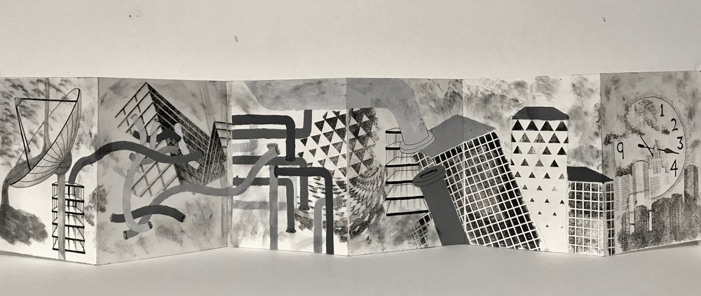 "Assignment: Principals of Design Accordion Book   Media: graphite, micron pens, and gesso on Bristol board  Size: 7"" x 28"""