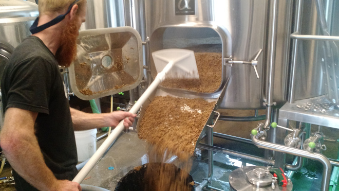"""The fun part (making the beer) only takes up about 10% of the brewer's time. The other 90% is spent keeping the brewery immaculately clean and sanitary. This includes getting rid of the hundreds of pounds of wet, """"spent"""" grain from the MLT, cleaning floors, sanitizing valves and o-rings and transfer hoses, etc."""