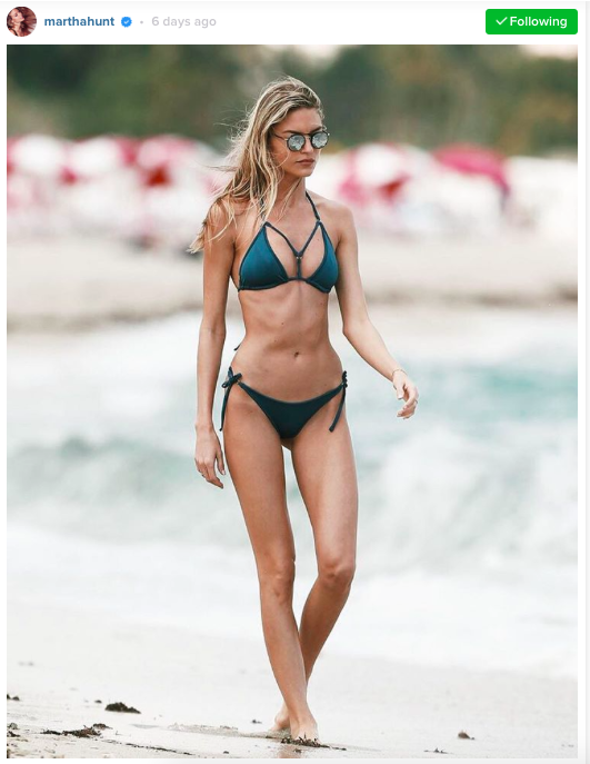 Seen on Martha Hunt: Gooseberry Seaside  So Chic Santorini Bikini Top  ($65) and  Tanga Bikini Bottom  ($40).