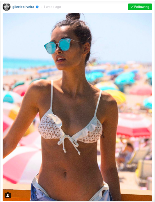 Seen on Gizele Oliveira: For Love & Lemons  Alicante Lace Triangle Top  ($97) and  Ruffle Bottoms  ($97). #LWL -  little white lace will always be pretty.