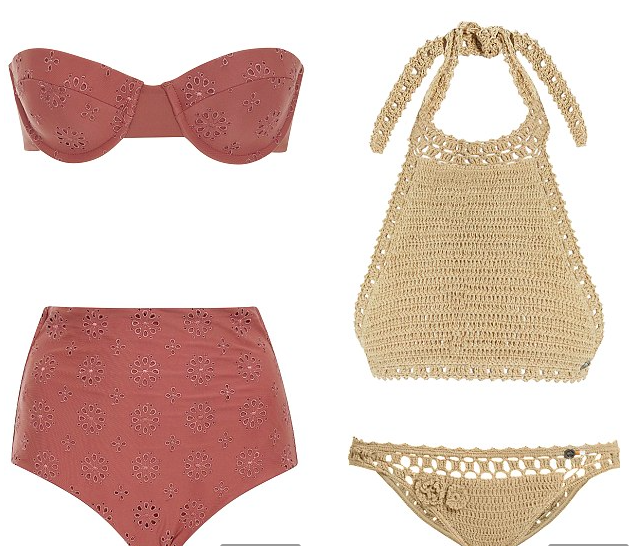 All in the details: Left: Tori Praver bikini top, $120, modaoperandi.com + bikini bottom, $110, modaoperandi.com. Right: She Made Me bikini top, $101, matchesfashion.com + bikini bottom, $88, matchesfashion.com