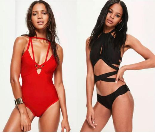 1. Red Bandage Strap Detail Swimsuit, $58  2. Black Mesh Wrap Around Bikini Set, $40