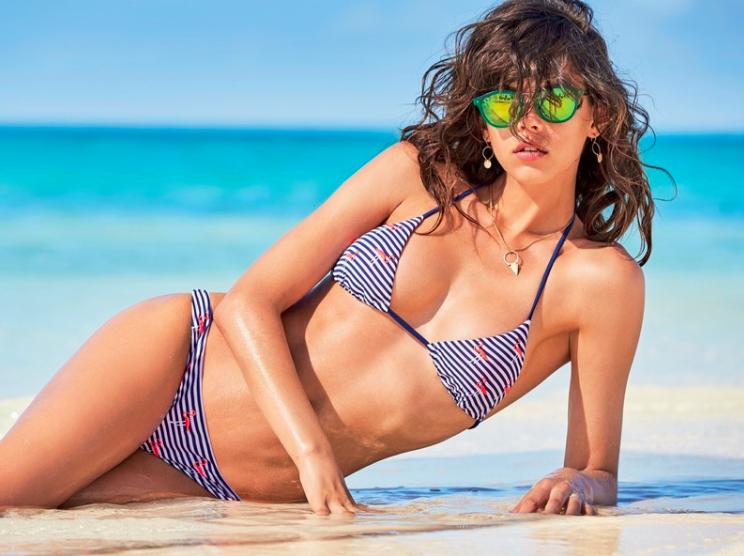 Georgia Fowler wears striped bikini in Calzedonia Swimwear's 2017 campaign